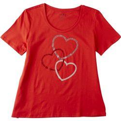 Coral Bay Petite Rhinestone Hearts Short Sleeve Shirt