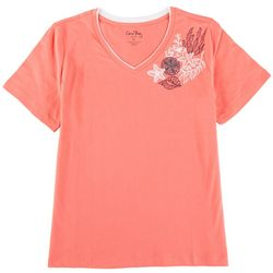 Coral Bay Petite Tropical Corner V-Neck Short Sleeve Top