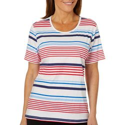 Coral Bay Petite Colorful Striped Short Sleeve Top