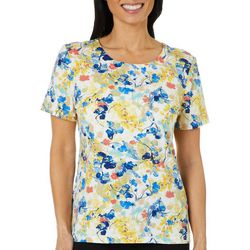 Coral Bay Petite Embellished Floral Print Round Neck Top