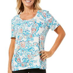 Coral Bay Petite Paisley Print Embellished Top