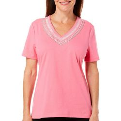 Coral Bay Petite Jeweled Embroidered V-Neck Top