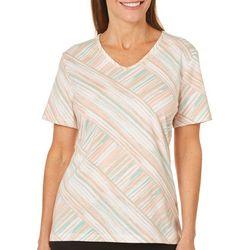 Coral Bay Petite Stripe Print V-Neck Top