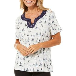 Coral Bay Womens Sailboat Print Embellished Split Neck Top