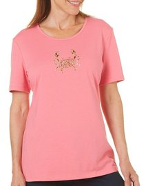 Coral Bay Petite Embellished Shiny Crab Top