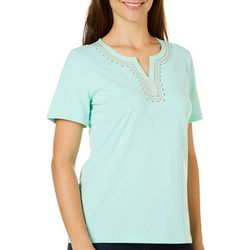 Coral Bay Petite Embroidered Calypso Top