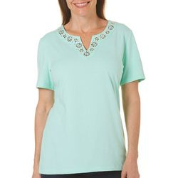 Coral Bay Petite Embellished Floral Trim Top