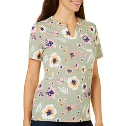 Coral Bay Petite Floral Paint Print Top