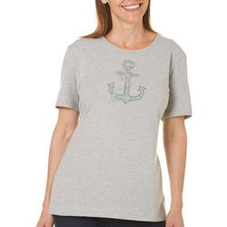 Coral Bay Petite Embellished Anchor Top