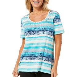 Coral Bay Petite Watercolor Stripe Embellished Top