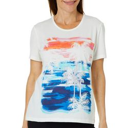 Coral Bay Petite Embellished Palm Sunset Scene Top
