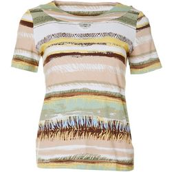Coral Bay Petite Mixed Animal Stripe Keyhole Neckline Top
