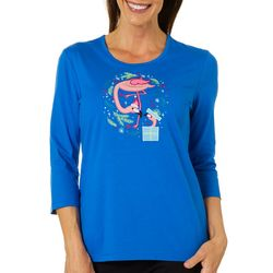Coral Bay Petite Holiday Flamingo Embellished Top