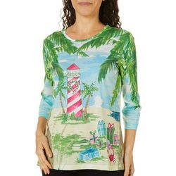 Coral Bay Petite Tropical Holiday Lighthouse Embellished Top
