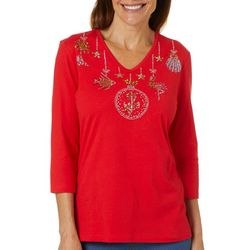 Coral Bay Petite Embellished Tropical Holiday Ornamanet Top