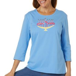Coral Bay Petite Flamingo Menorah Embellished Top