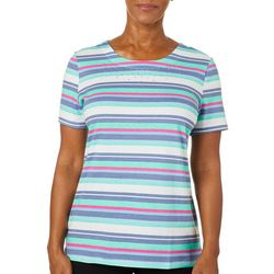 Coral Bay Petite Embellished Stripe Short Sleeve Top