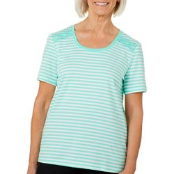 Coral Bay Petite Crochet Shoulder Striped Florida Tee