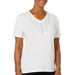 Coral Bay Petite Solid Embroidered V-Neck Florida Tee