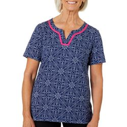 Coral Bay Petite Split Neck Geometric Tile Print Top
