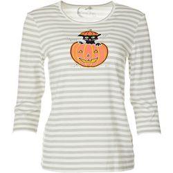 Coral Bay Petite Three Quarter Sleeve Cat Pumpkin Top