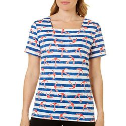 Coral Bay Petite Anchor and Stripe Print Top