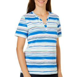 Coral Bay Petite Striped Henley Florida Tee