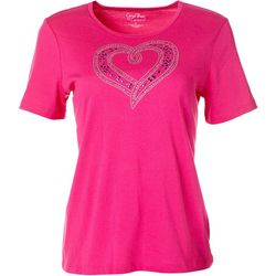 Coral Bay Petite Short Sleeve Jeweled Heart Top