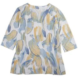 Coral Bay Petite Paint Striped 3/4 Sleeve Top
