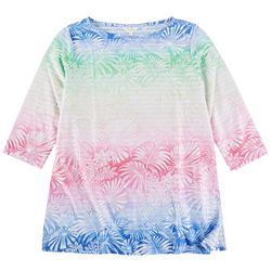 Coral Bay Womans Tropical Rainbow Print 3/4 Sleeve Top