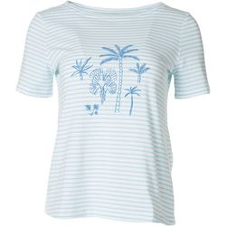 Coral Bay Petite Striped Palms Short Sleeve Top