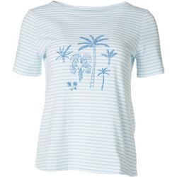 Petite Striped Palms Short Sleeve Top
