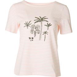 Petite Striped Palms Short Sleeve Top