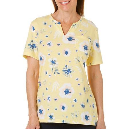 5f2eb1c32e3 Coral Bay Petite Floral Paint Print Top