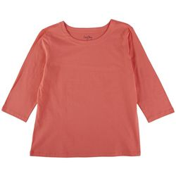 Coral Bay Petite Solid Scoop Neck 3/4 Sleeve Top