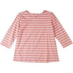 Coral Bay Petite Striped Scoop Neck 3/4 Sleeve Top