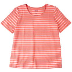 Coral Bay Petite Striped Scoop Neck Short Sleeve Top
