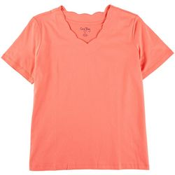 Coral Bay Petite Scalloped V Neck Solid Top