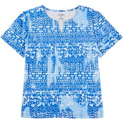 Coral Bay Petite Abstract Blue Sky Split Neck Top