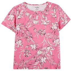 Coral Bay Womens Short Sleeve 3 Hole Neckline Floral Top