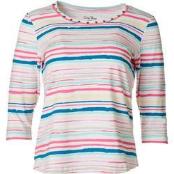 Petite Studded Stripe 3/4 Sleeve Top