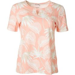 Coral Bay Petite Flora & Fauna Crisscross Short Sleeve Top