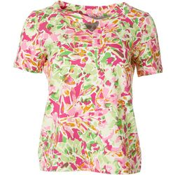 Coral Bay Petite Short Sleeve Twist Keyhole Floral Top