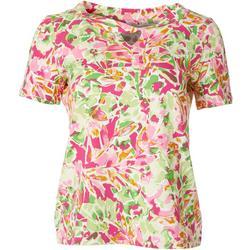Petite Short Sleeve Twist Keyhole Floral Top