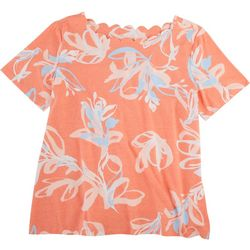 Coral Bay Petite Scalloped Boat Neck Floral Top
