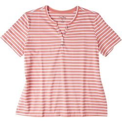 Coral Bay Petite Striped V-Neck T-Shirt 1/4 Button Down
