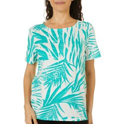 Coral Bay Petite Linear Palm Print Short Sleeve