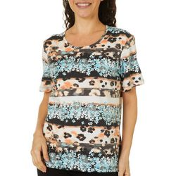 Coral Bay Petite Mixed Animal Print Short Sleeve
