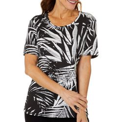 Coral Bay Petite Abstract Leaf Print Round Neck Top