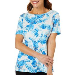 Coral Bay Petite Tropical Leaves Boat Neck Short Sleeve Top